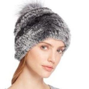 Surell Genuine Rabbit Fur Pom Pom Beanie Hat